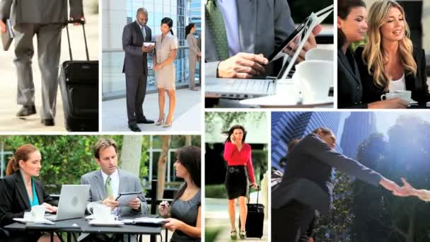Montage Multi ethnic business meetings closing contracts online technology