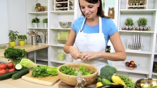 Brunette Girl Kitchen Preparing Fresh Vegetarian Meal