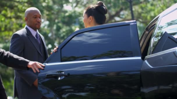 Business advisors getting into limousine