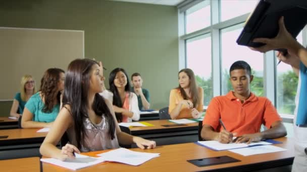 Studenti pracují s lektorka
