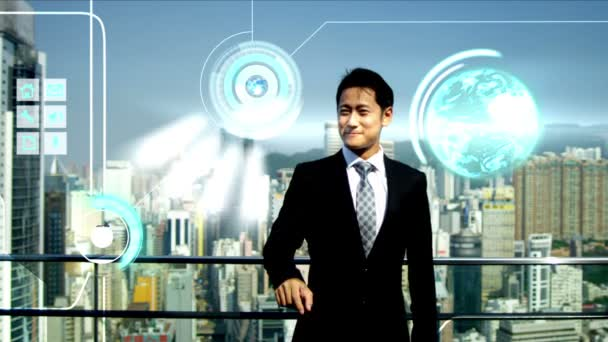 3D touch screen Asian businessman multimedia touch screen app motion graphics