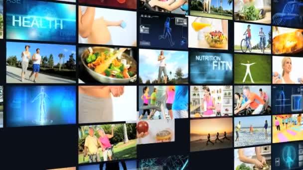 CG montáž zeď kavkazské hispánské zdravé fitness potravin životní styl motion grafika