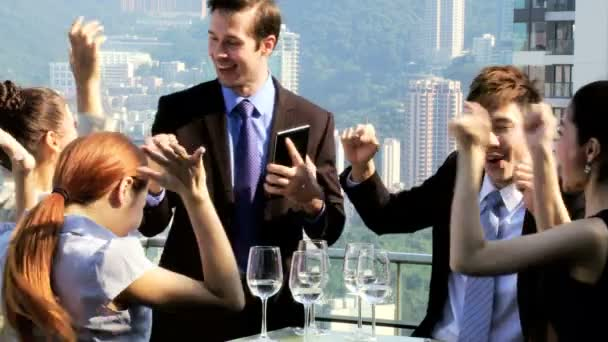 Business people in rooftop restaurant
