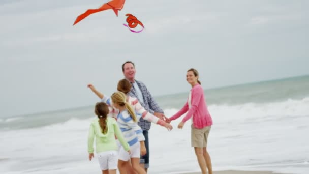 Family with flying kite on beach