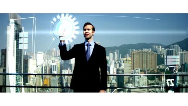 3D dotykové obrazovky kavkazské podnikatel investic Hong Kong app motion grafika