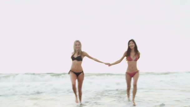 Dívky nosí bikiny na pláži