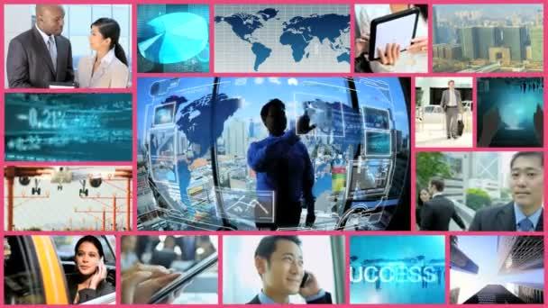 3D montage ethnic businesswoman businessman navigation app motion graphics