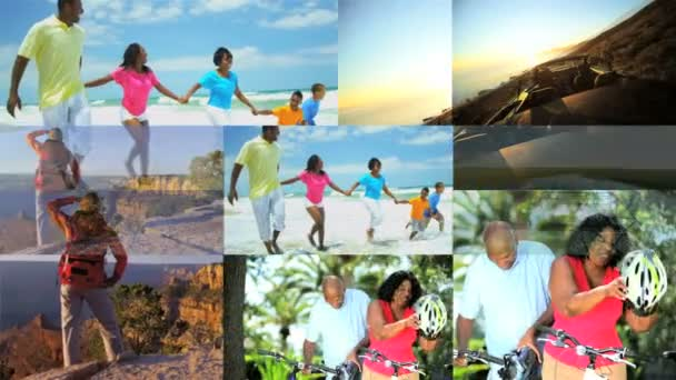 3D montage African American Caucasian children family vacation lifestyle USA