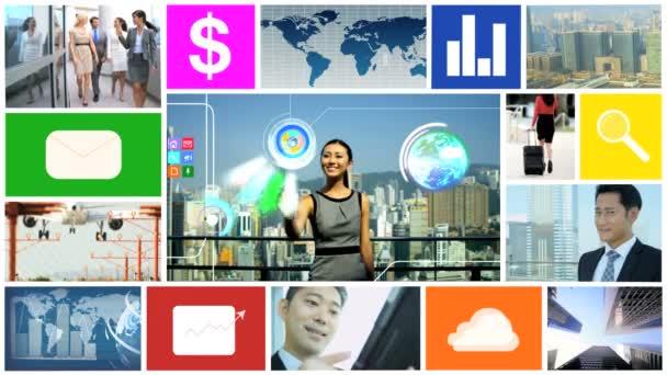 3D video-Montage asiatisches Geschäft touch Bildschirm Dach app Grafikanimationen