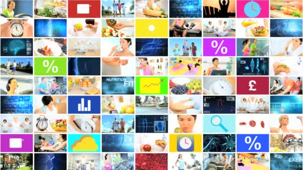 CG video montage wall ethnic healthy nutrition lifestyle app motion graphics