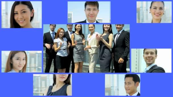 3D video sestřih asijského podnikatelé podnikatelky obchod app týmu motion grafika