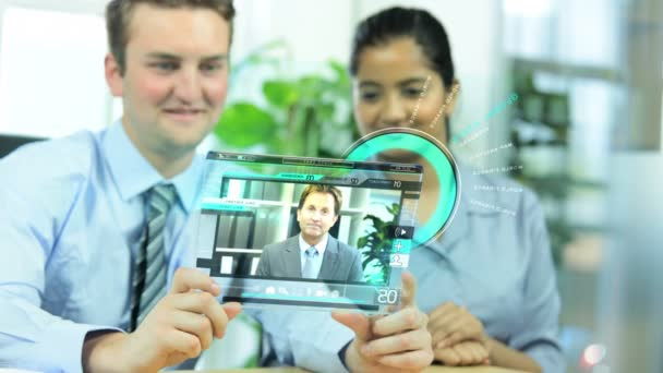 CG touch screen ethnic business managers perspex communication motion graphics