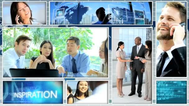 Montage video multi ethnic businessmen