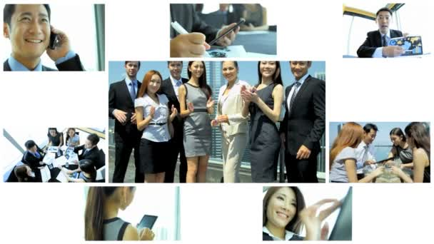 3D video montage Asian business teamwork strategy app motion graphics
