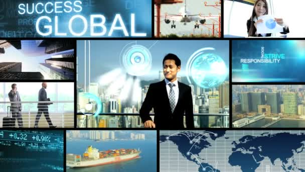3D video montage Asian Caucasian world travel business trade motion graphics