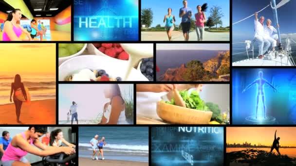 CG wall montage Caucasian Hispanic senior healthy beach lifestyle motion graphics