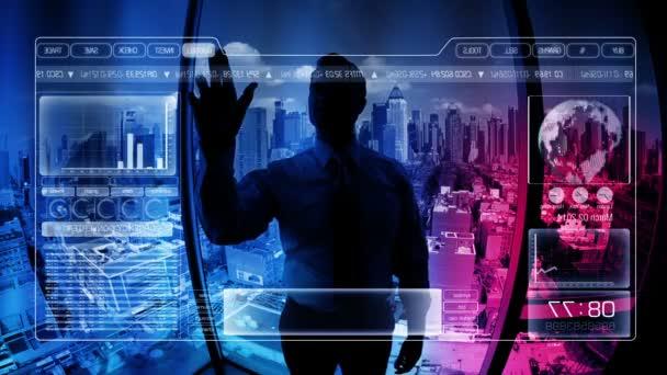 Kavkazská, podnikatel pomocí digitální dotykový displej, technologie