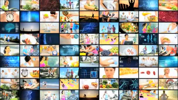 CG montage wall Multi ethnic healthy cycling food lifestyle motion graphics