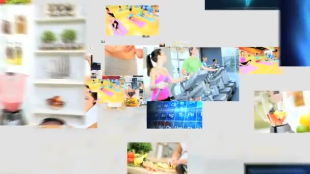 3D montage fly through Caucasian Hispanic healthy body lifestyle motion graphics