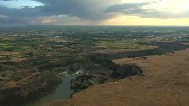 Aerials Idaho USA Snake River waterfall sunset Plain Shoshone Falls