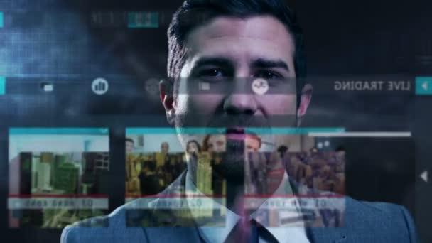 podnikatel, používající technologii dotykové obrazovky