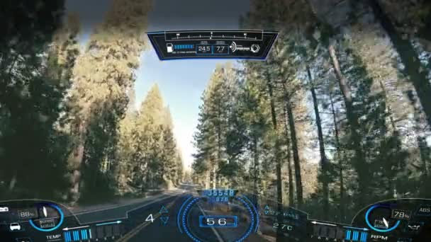 Car driving pov apps display motion graphics