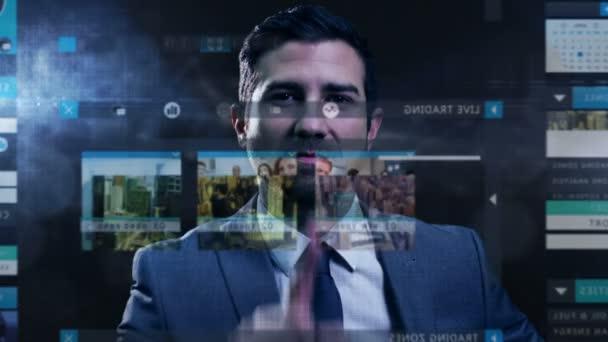üzletember, érintőképernyős-technológiával
