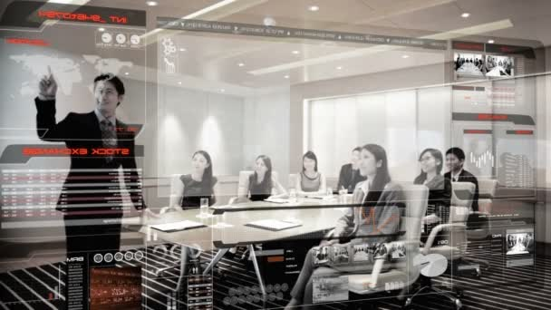 Asian business people in boardroom with 3D technology