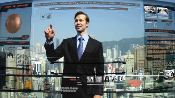 businessman on rooftop skyscraper operating 3D technology