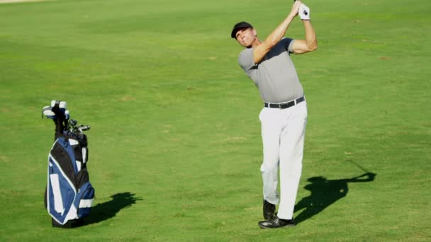 Professional male golf player during training