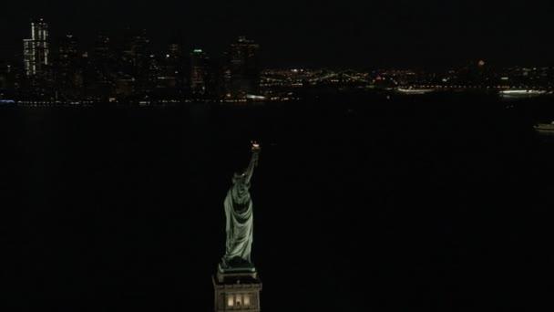 illuminated New York Statue of Liberty
