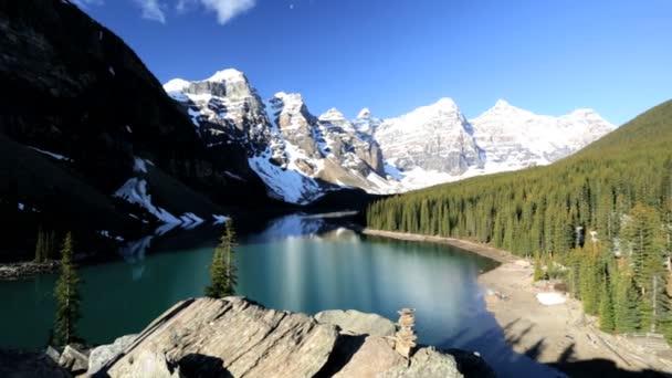 female hiker travels in Lake Moraine area