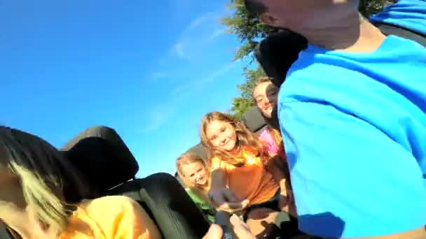 Family going on vacation in cabriolet car