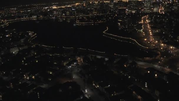 illuminated night view suburban road traffic