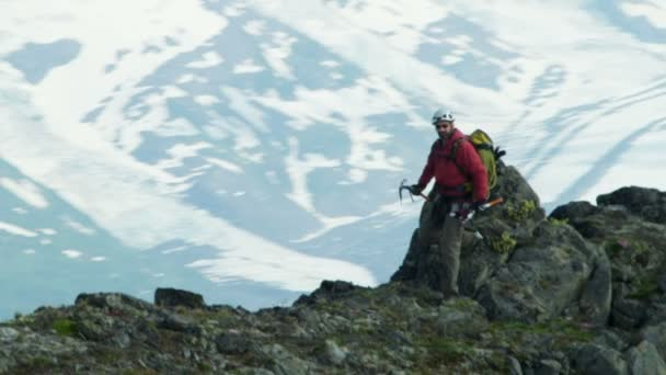 Climber travels on Alaska glacier mountains