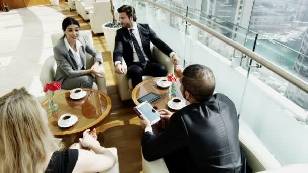 business team having meeting in Dubai office building
