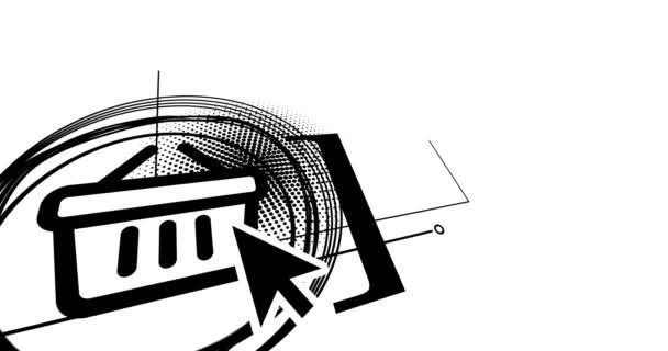 Animiertes Banner Webshop, Online-Shopping-Symbole gesetzt.