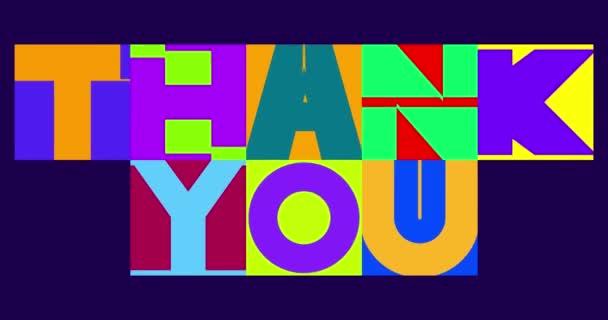 Um Danke zu sagen Hintergrund in typografischem Stil, Danke Banner animiert.