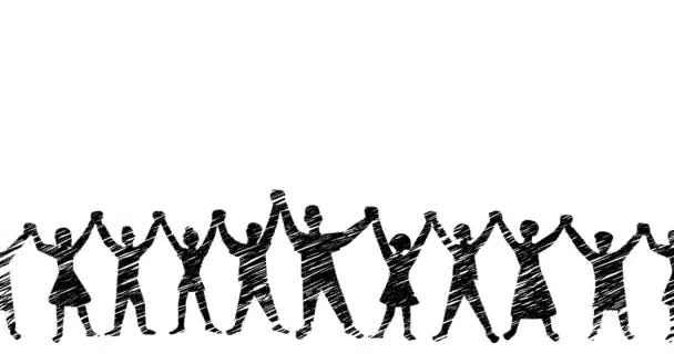 Animation of people holding hands in outline design.