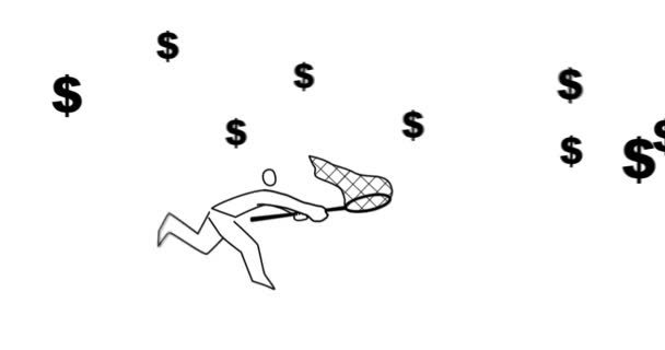 Animation of man catching flying dollar symbol with butterfly net