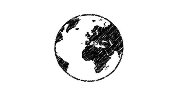 2d animace zeměkoule planety Země v naškrábaném designu