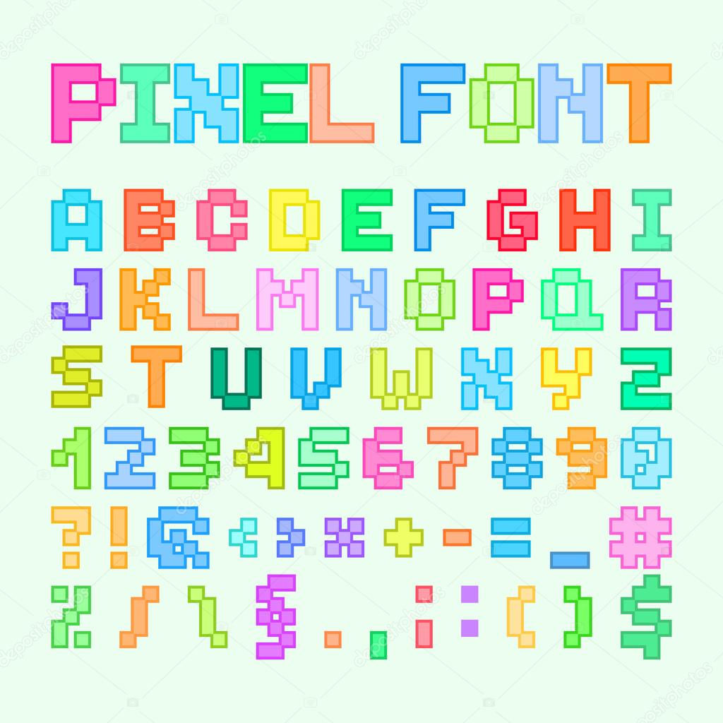 Set Of Pixel Art Alphabet Letters And Numbers Stock