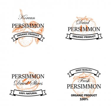 Set of persimmon fruit logos with hand drawn element isolated on white background. Vector illustration in vintage style icon