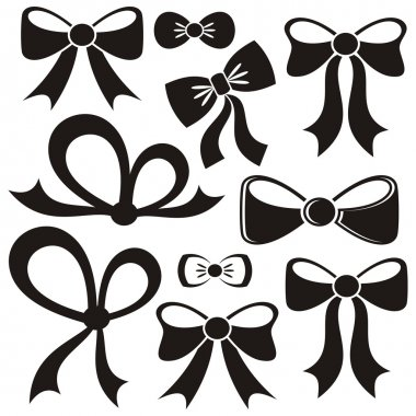 Set of different decorative black vector bows isolated stock vector