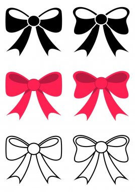 Set of different black and red vector bows stock vector