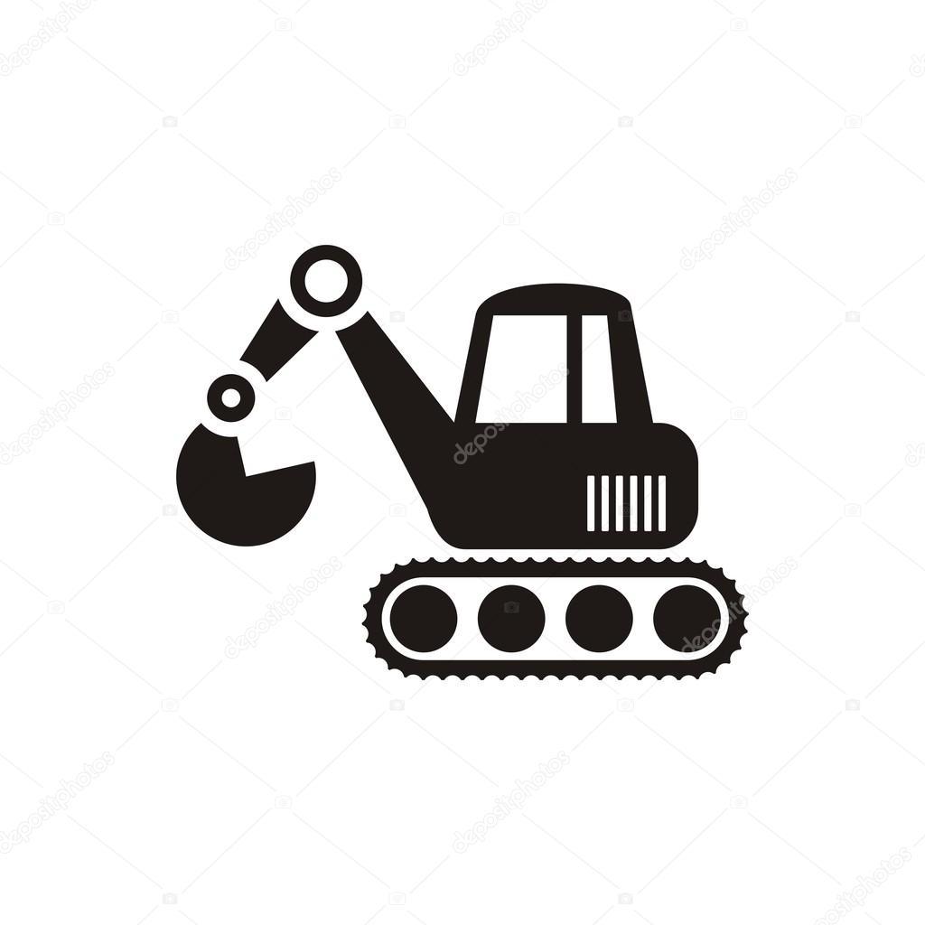 excavator clip art black and white