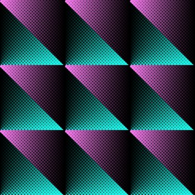 Vector halftone texture seamless pattern turquoise and violet stock vector