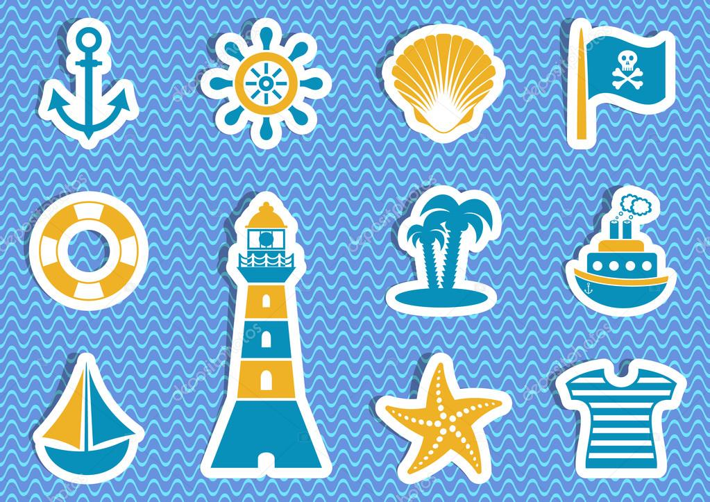 Marine and pirate vector labels