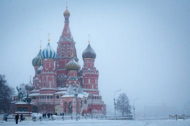 Cathedral of Saint Basil the Blessed on winter and stormy Red Square in Moscow
