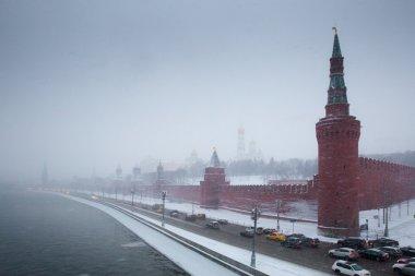 Moscow Kremlin embankment in snowstorm